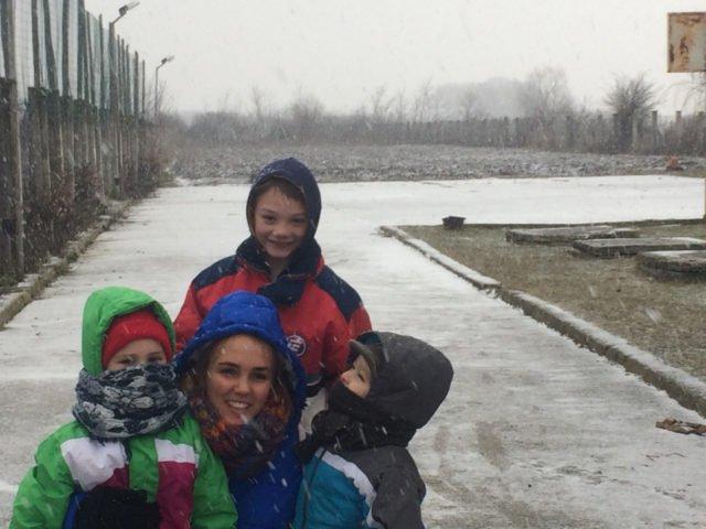 Franziska mit Kindergruppe
